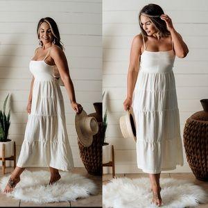 Ivory MIDI Dress bridal wedding summer cute shower